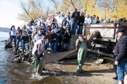 В Запорожье в Днепр выпустили тысячи полезных рыб